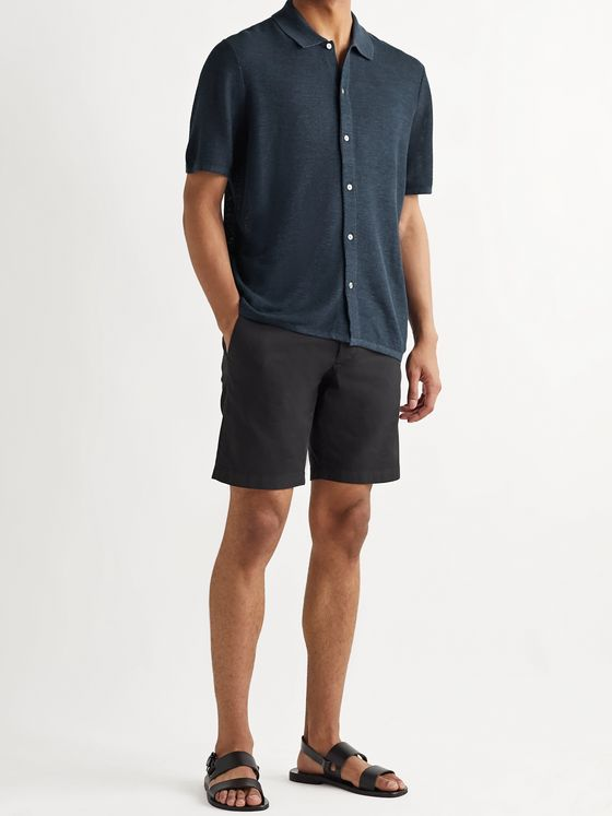 Theory Galena Linen-Blend Piqué Polo Shirt