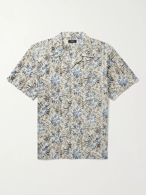Theory Weldon Camp-Collar Floral-Print Cotton-Blend Poplin Shirt