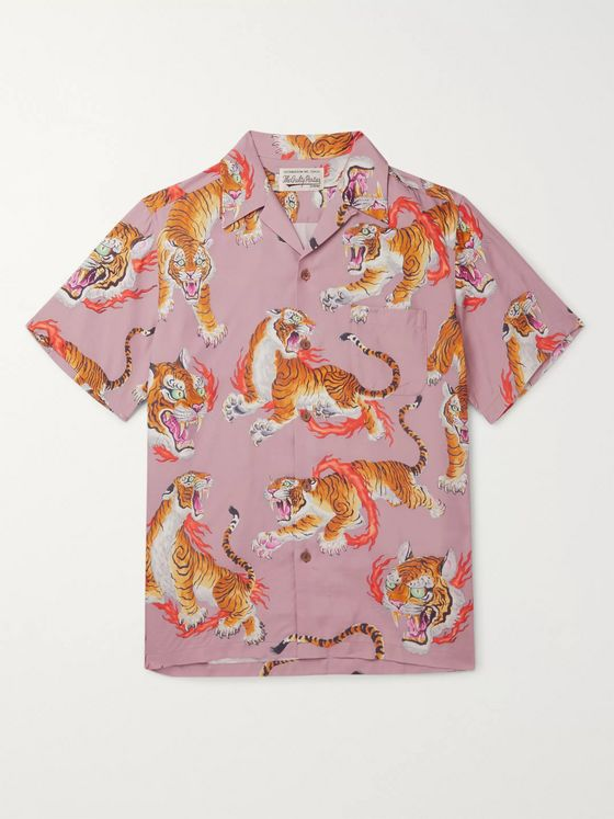 Wacko Maria + Tim Lehi Camp-Collar Printed Woven Shirt
