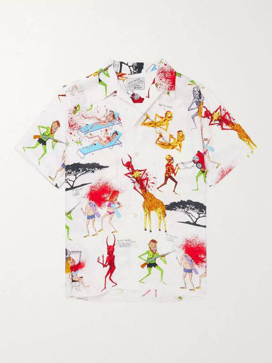 Wacko Maria + Nasty Neck Face Camp-Collar Printed Woven Shirt