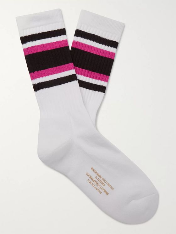 Wacko Maria Striped Ribbed Cotton-Blend Socks