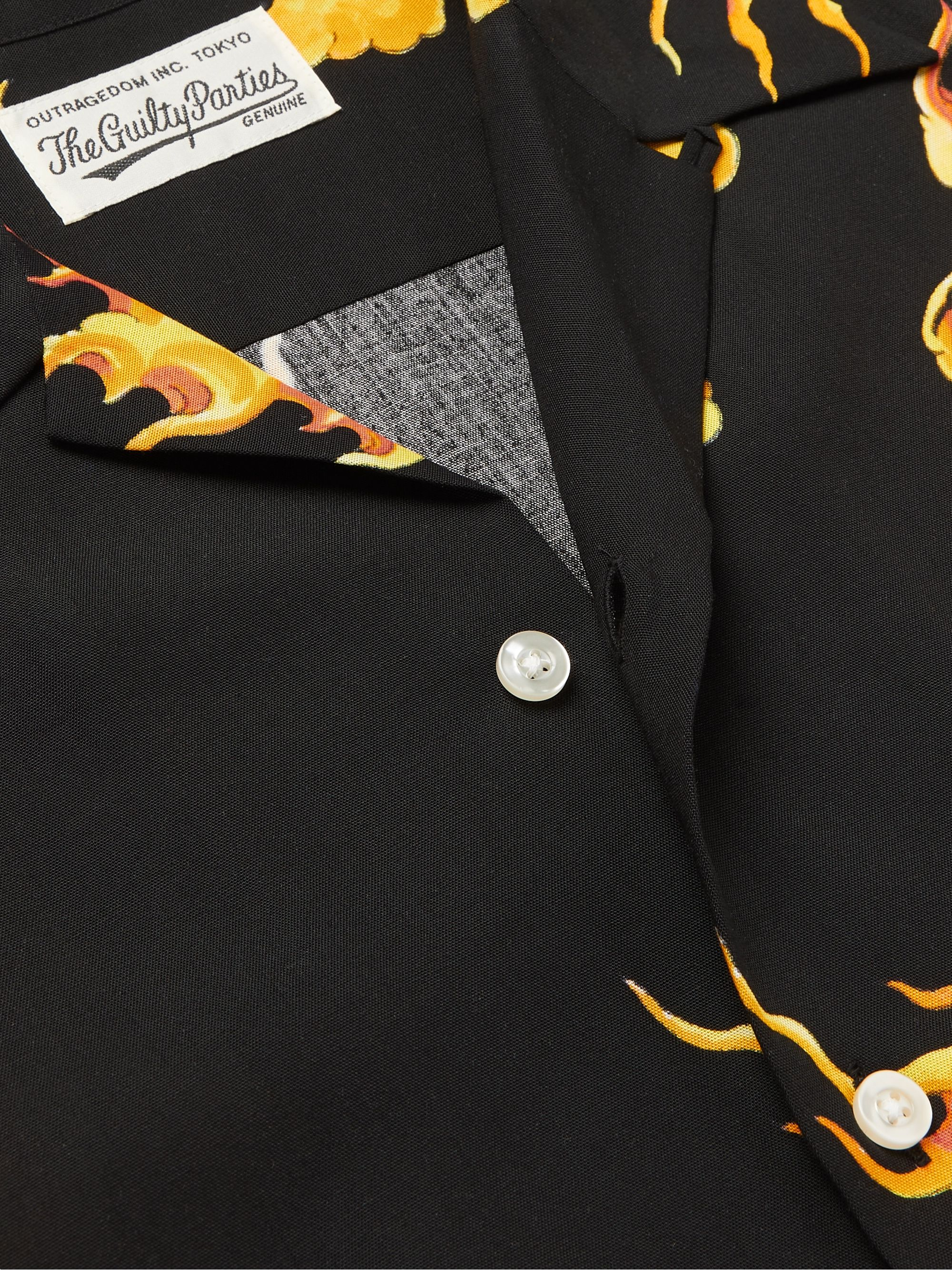 Black + Tim Lehi Camp-collar Printed Lyocell Shirt   Wacko Maria