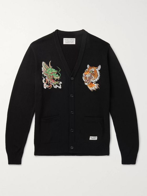 Wacko Maria + Tim Lehi Embroidered Cotton-Blend Cardigan