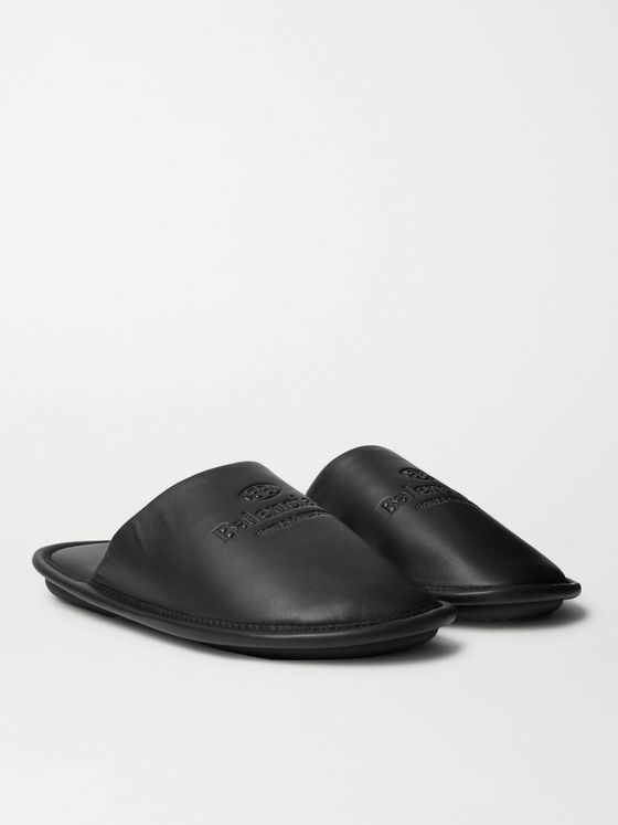 BALENCIAGA Home Logo-Debossed Leather Slippers