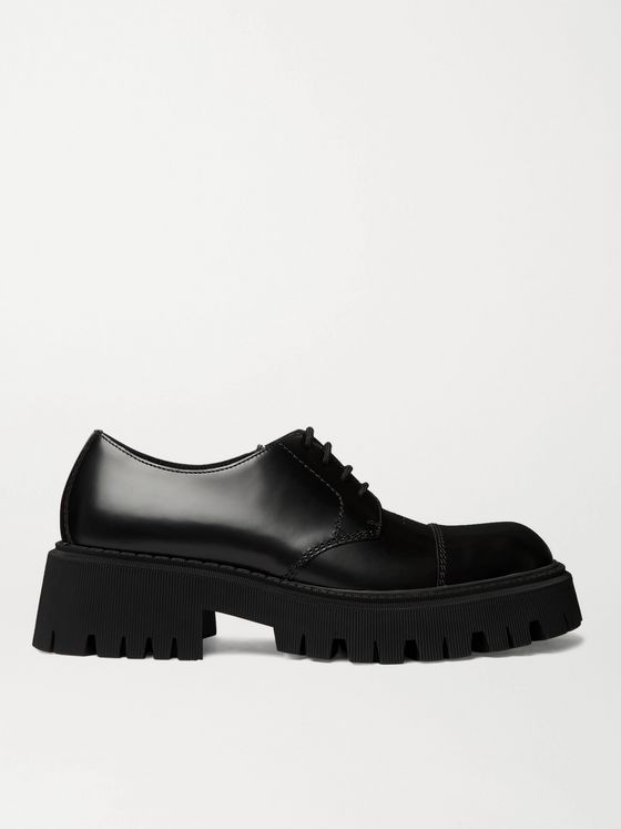 Balenciaga Tractor Logo-Debossed Leather Derby Shoes