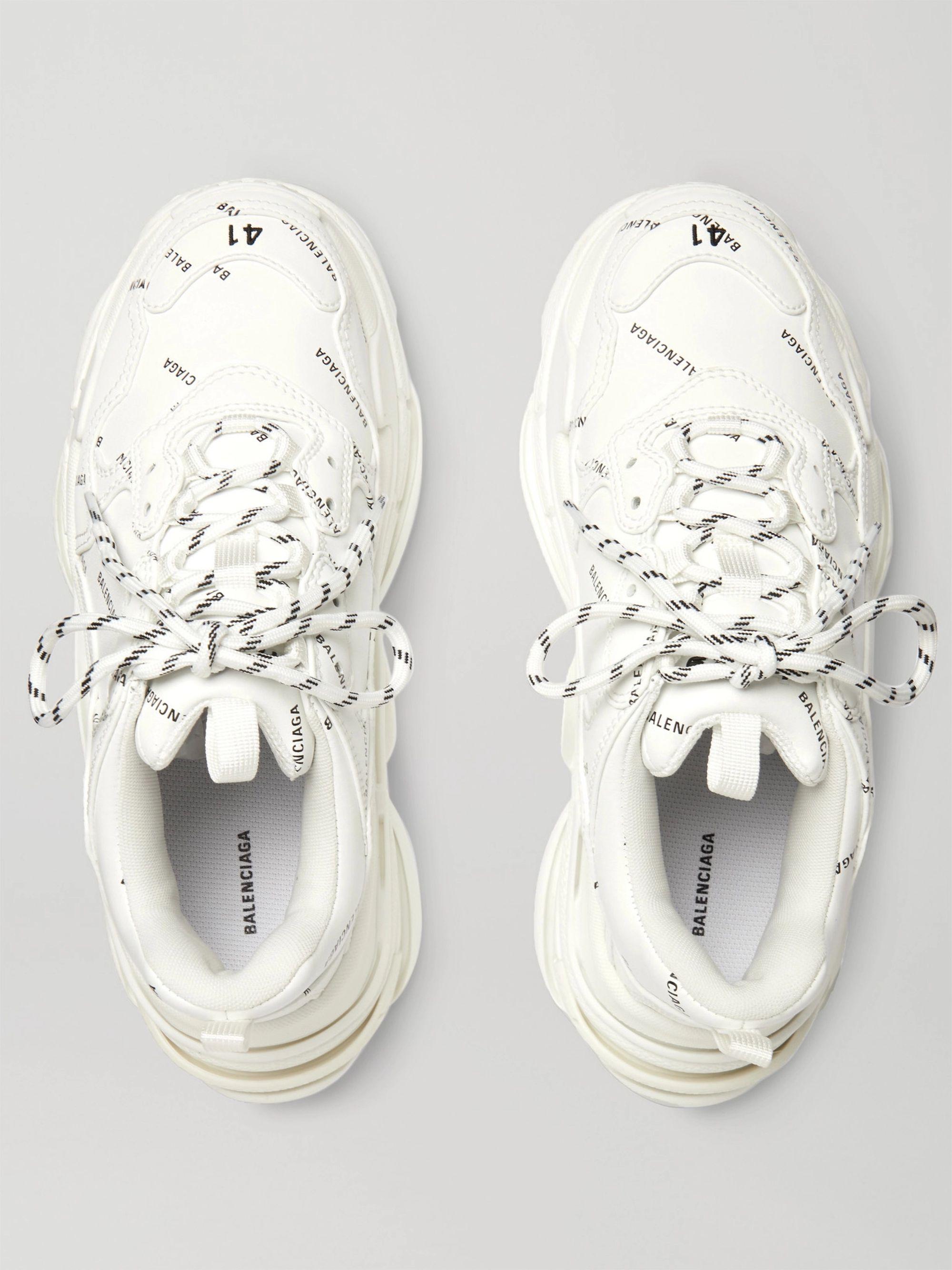 White Triple S Logo Print Faux Leather