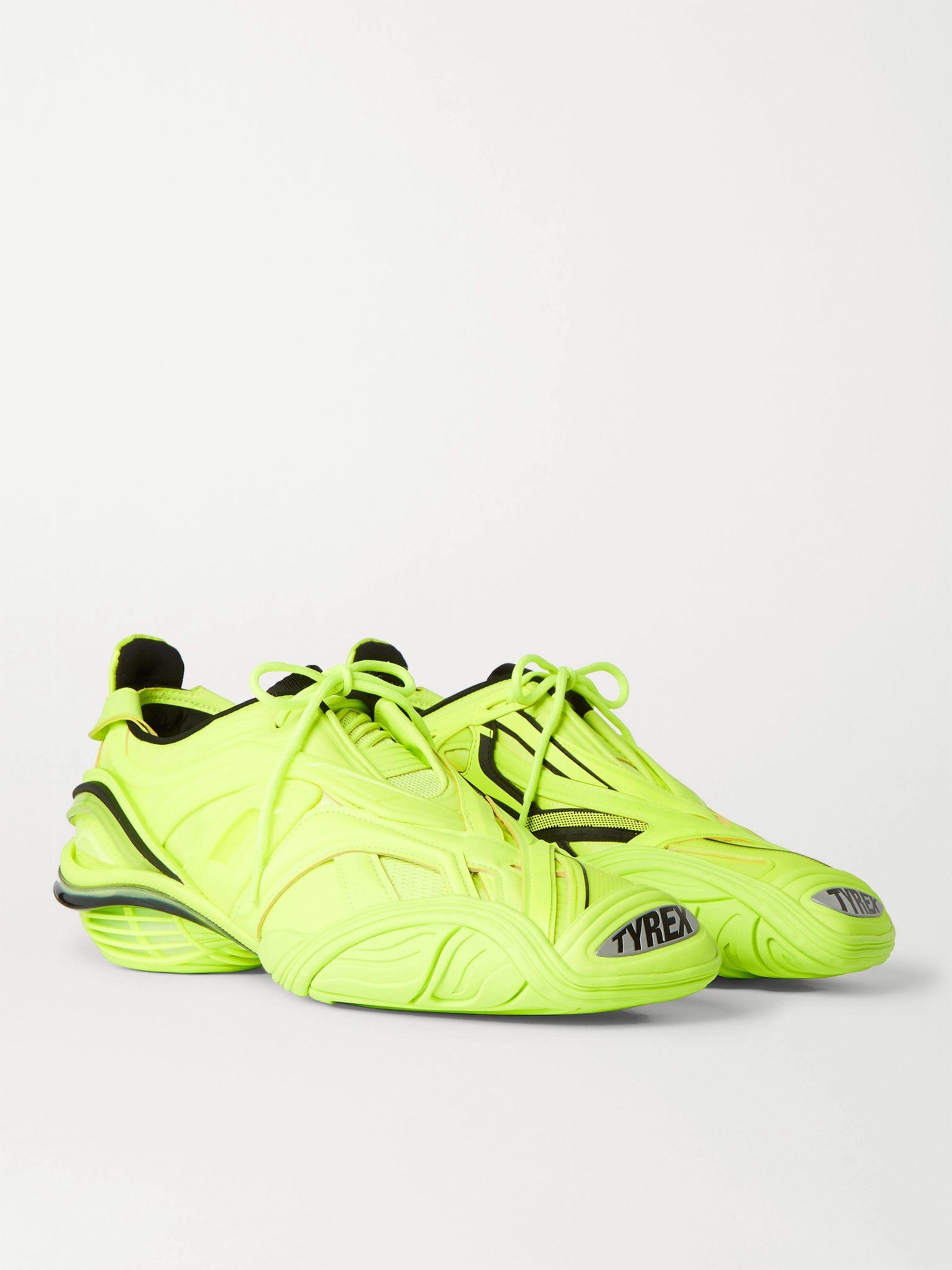 발렌시아가 Balenciaga Tyrex Rubber Mesh and Faux Leather Sneakers,Yellow