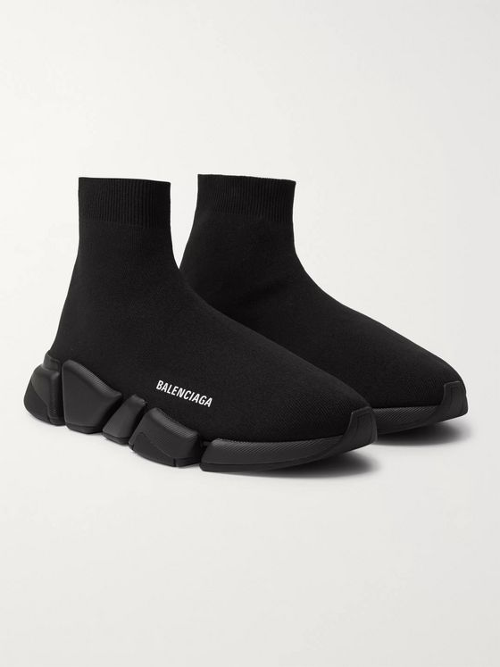 BALENCIAGA Speed 2.0 Logo-Print Stretch-Knit Slip-On Sneakers