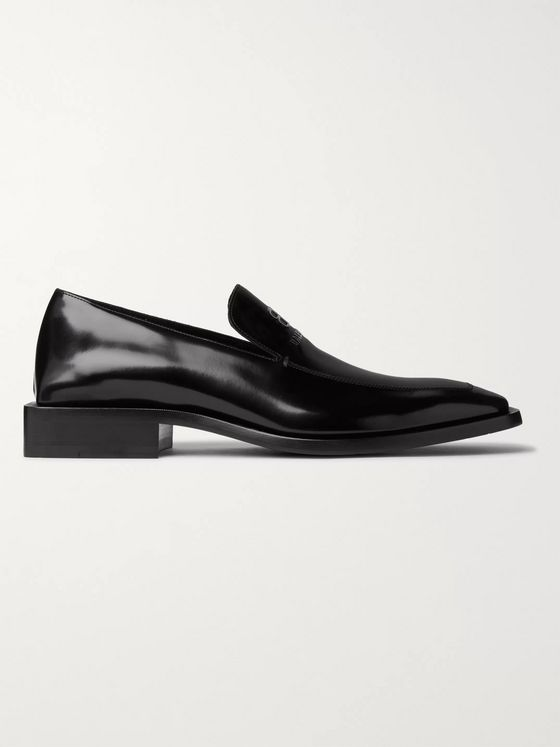 Balenciaga Logo-Embossed Patent-Leather Loafers