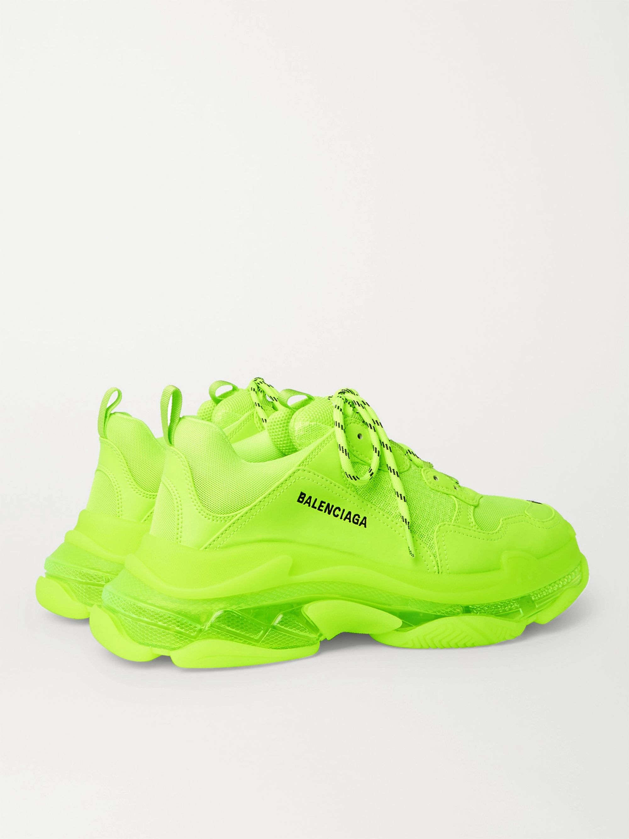 Yellow Triple S Neon Mesh And Leather Sneakers | Balenciaga