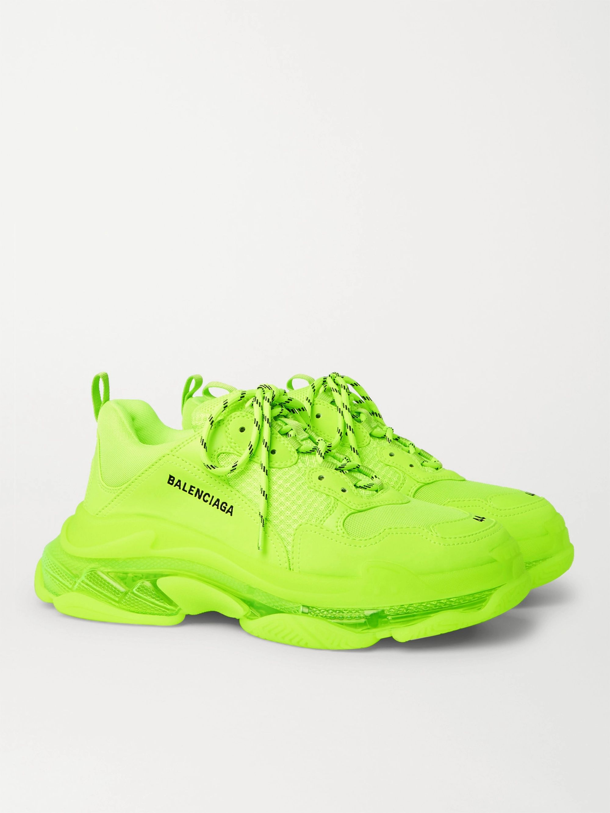 Balenciaga Triple S Neon Mesh and Leather Sneakers