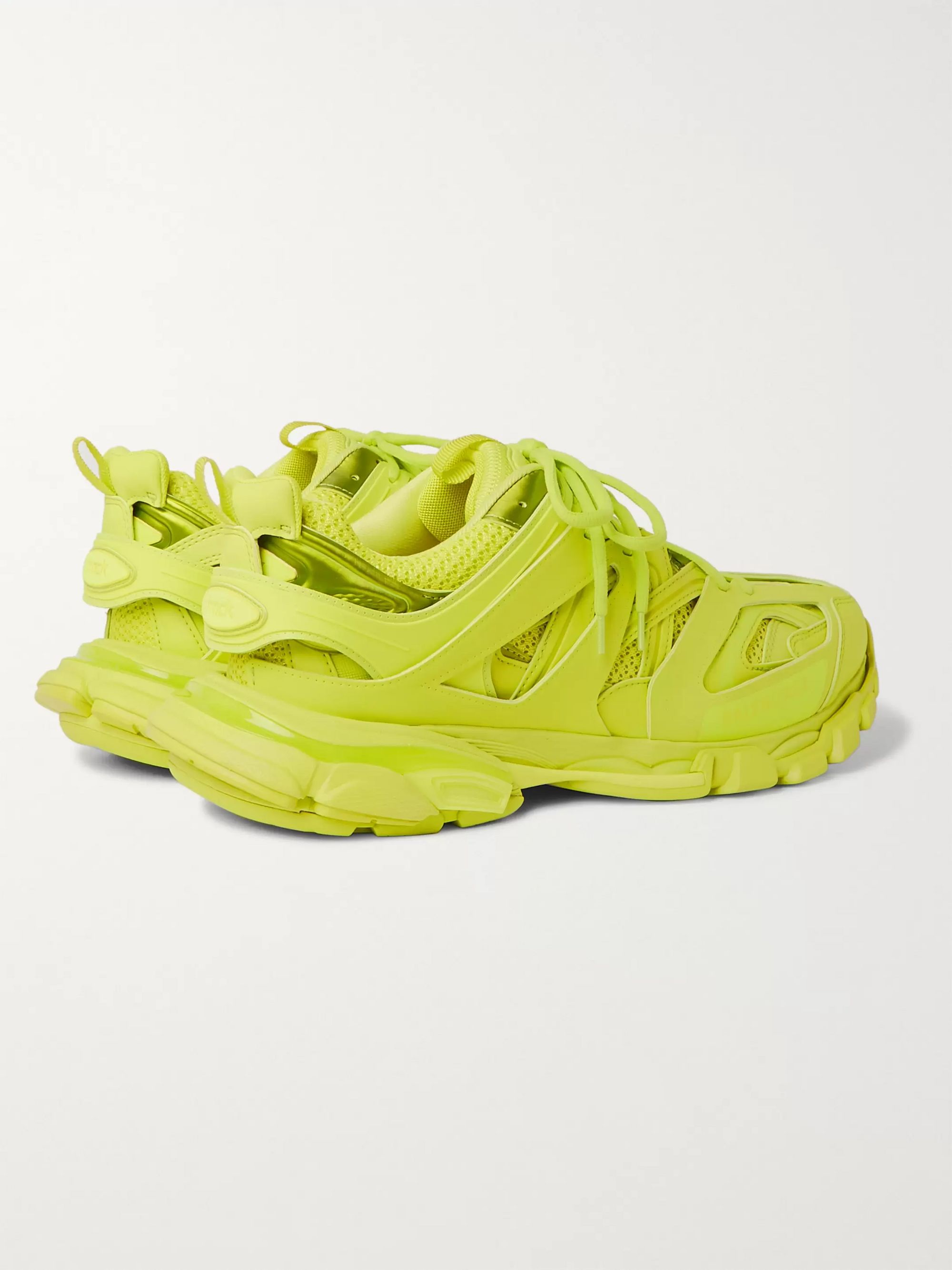 Yellow Track Nylon, Mesh And Rubber Sneakers | Balenciaga