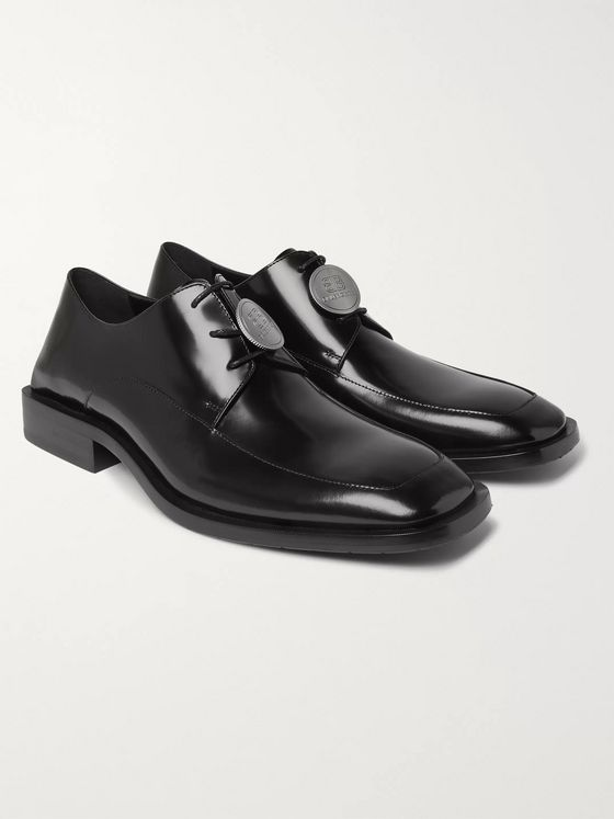 Balenciaga Logo-Detailed Patent-Leather Derby Shoes