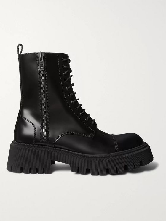 Balenciaga Tractor Logo-Debossed Leather Boots