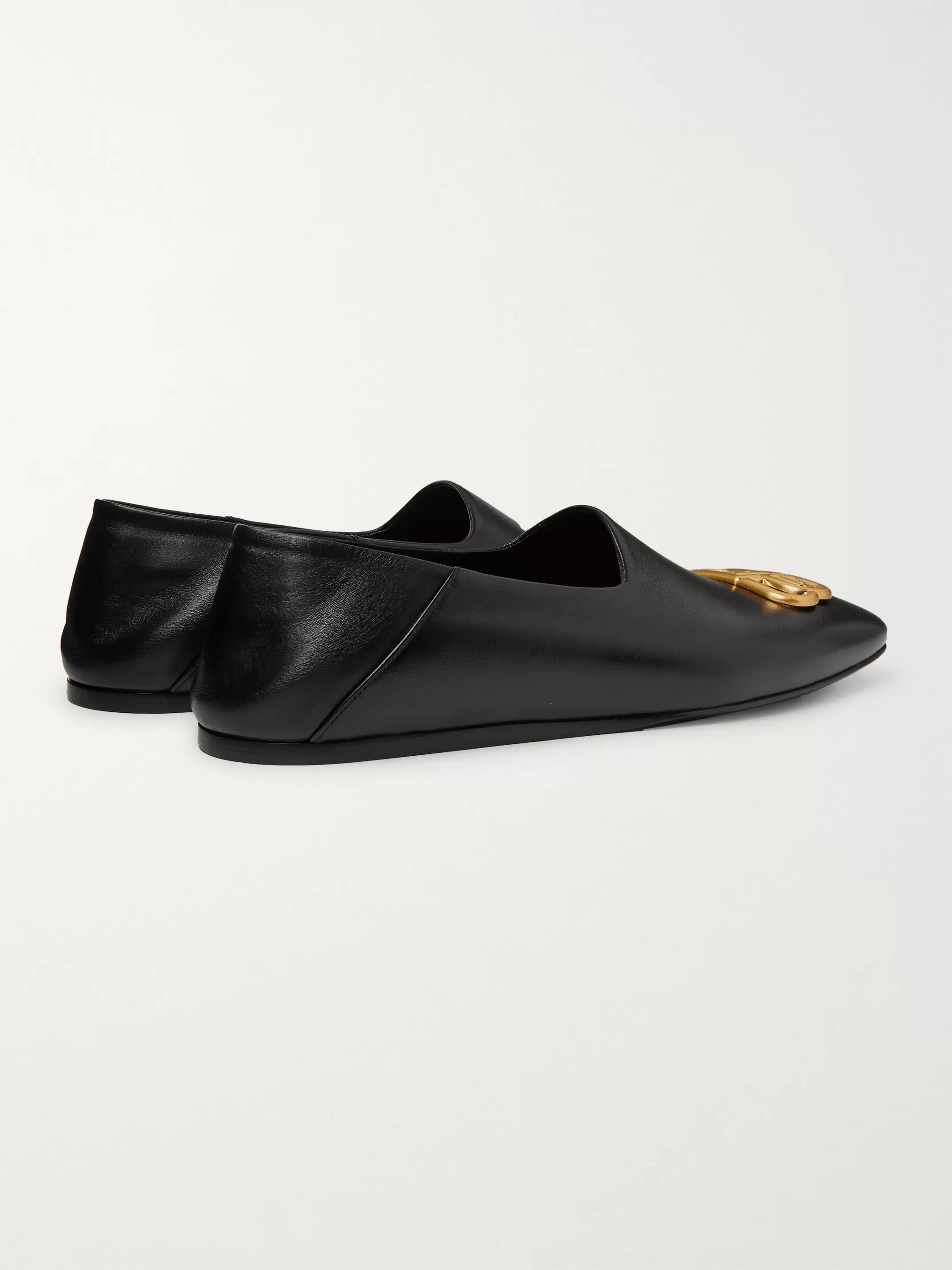 Balenciaga Cosy BB Logo-Detailed Collapsible-Heel Leather Loafers