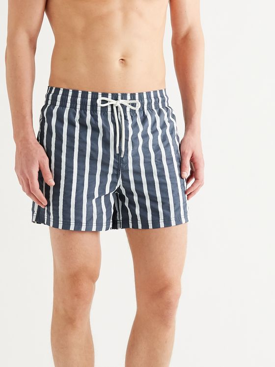 Atalaye Suertea Short-Length Striped Cotton-Blend Swim Shorts