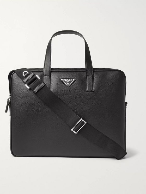 Prada Logo-Appliquéd Saffiano Leather Briefcase