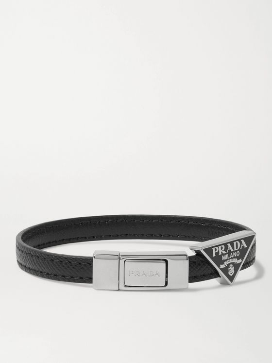Prada Logo-Detailed Saffiano Leather Bracelet
