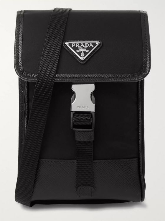 Prada North West Logo-Appliquéd Leather-Trimmed Nylon Messenger Bag