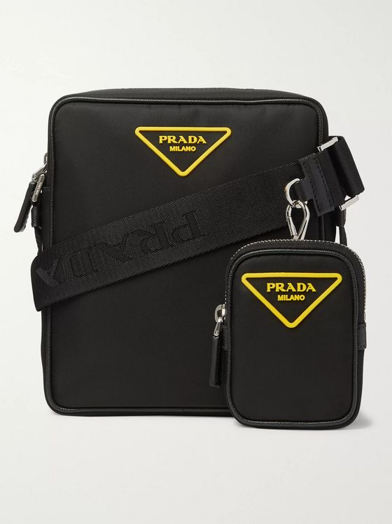 PRADA Logo-Appliquéd Saffiano Leather-Trimmed Nylon Messenger Bag