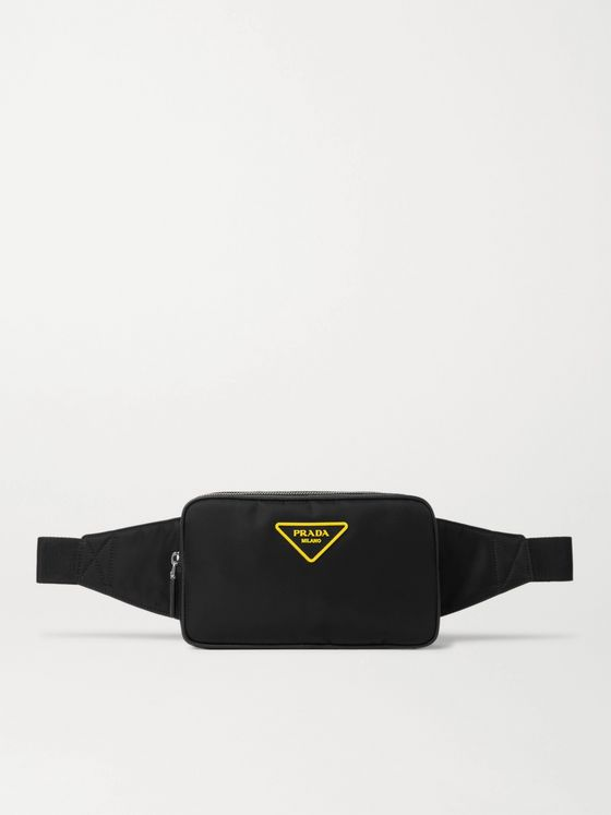 Prada Logo-Appliquéd Leather-Trimmed Nylon Belt Bag
