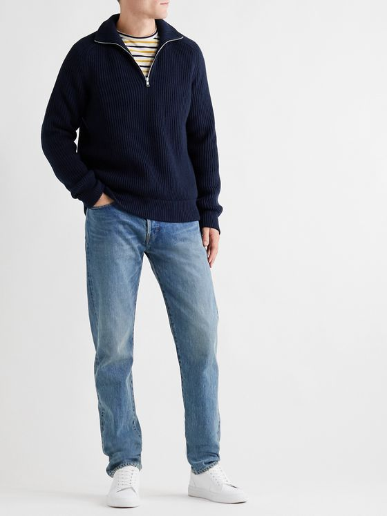 MR P. Ribbed Merino Wool Half-Zip Sweater