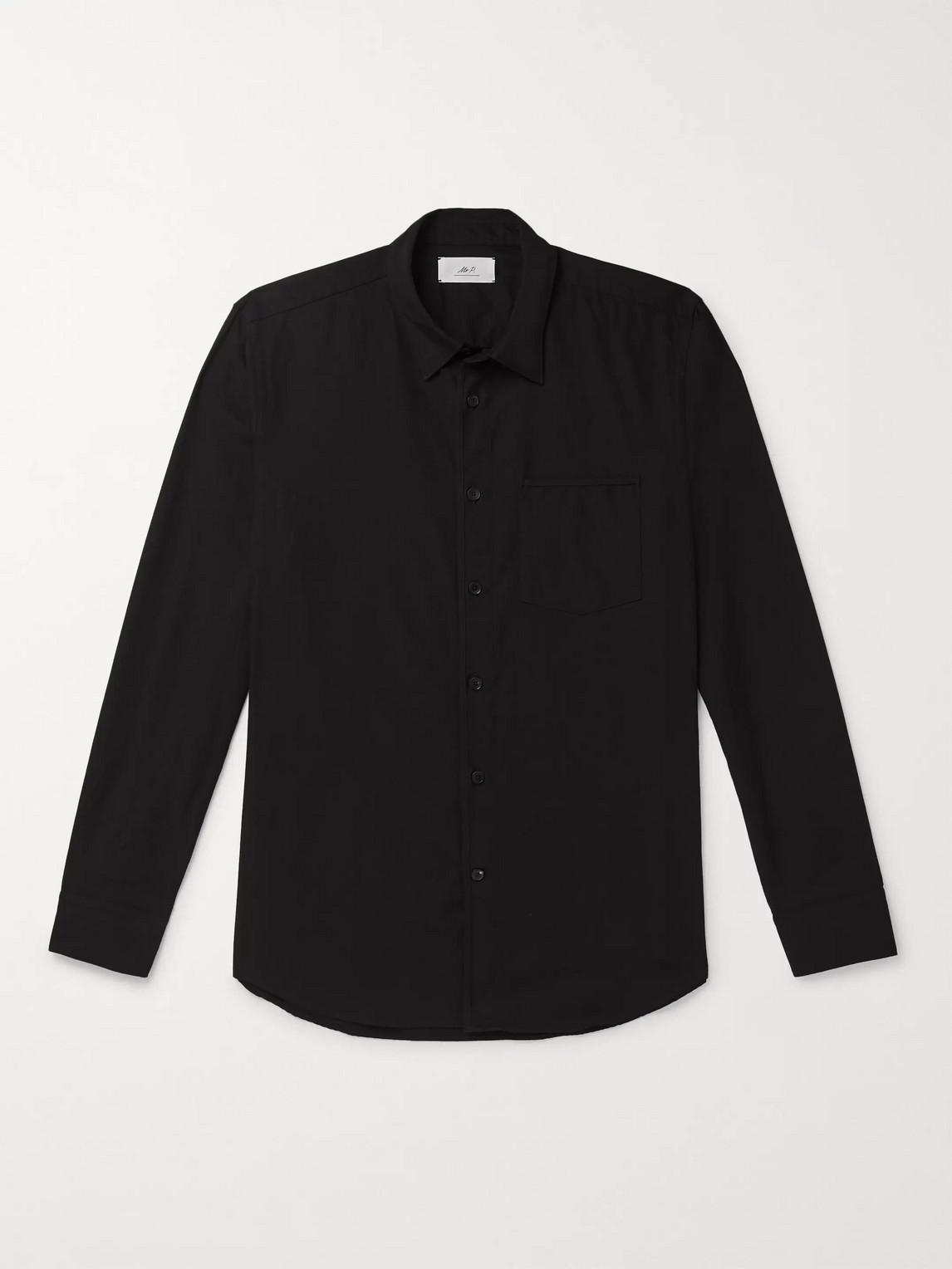 mr p. - paul washed-cotton shirt - men - black