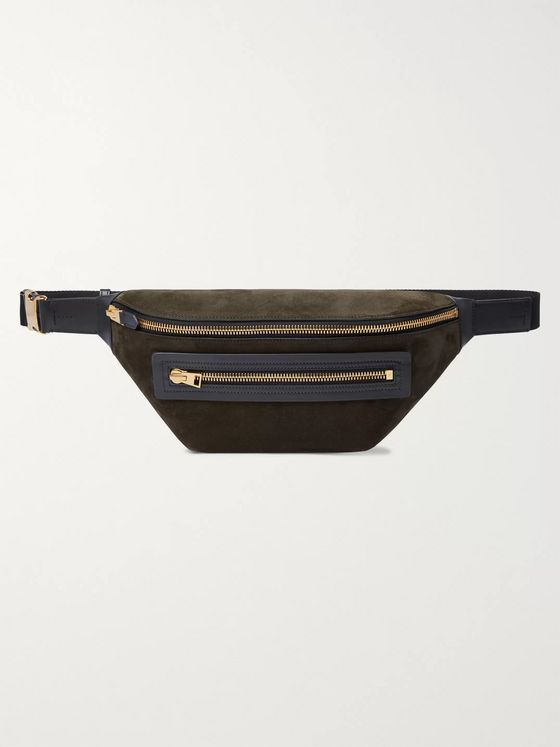 TOM FORD Buckley Leather-Trimmed Suede Belt Bag
