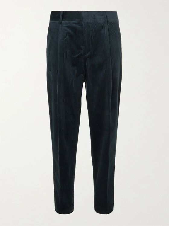 MR P. Tapered Pleated Cotton-Corduroy Trousers