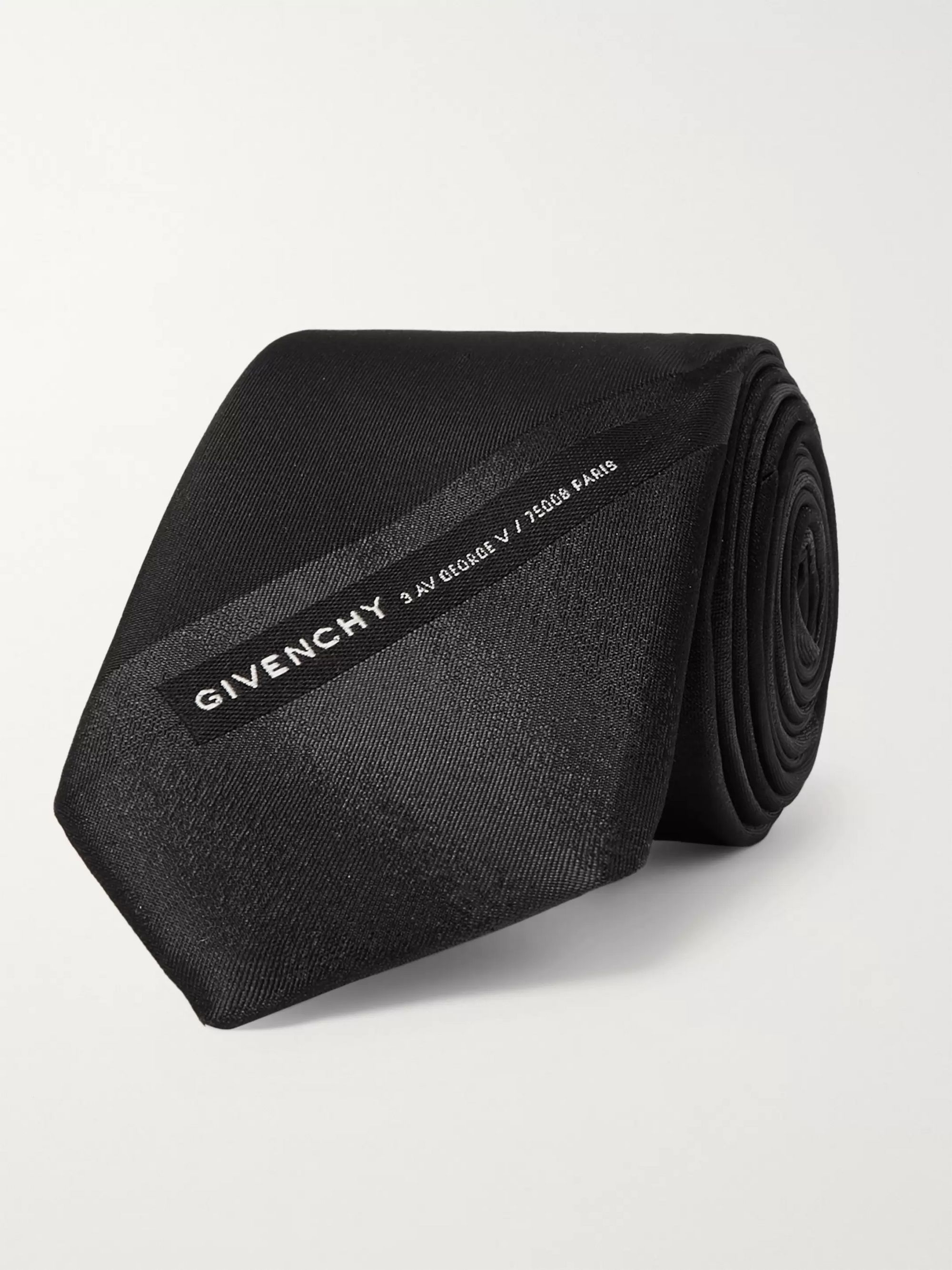 Givenchy 6.5cm Logo-Embroidered Striped Silk Tie