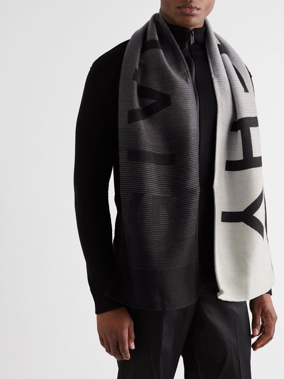 Givenchy Logo-Intarsia Dégradé Wool and Silk-Blend Scarf
