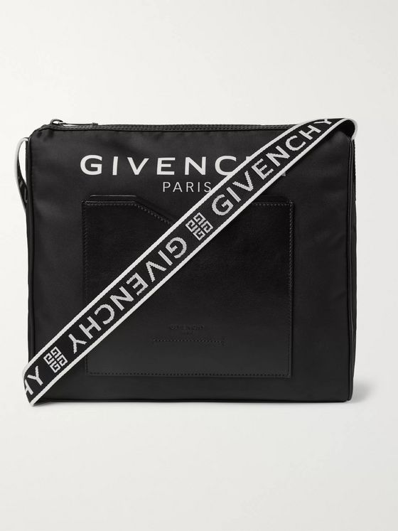Givenchy Logo-Jacquard Leather-Trimmed Shell Messenger Bag