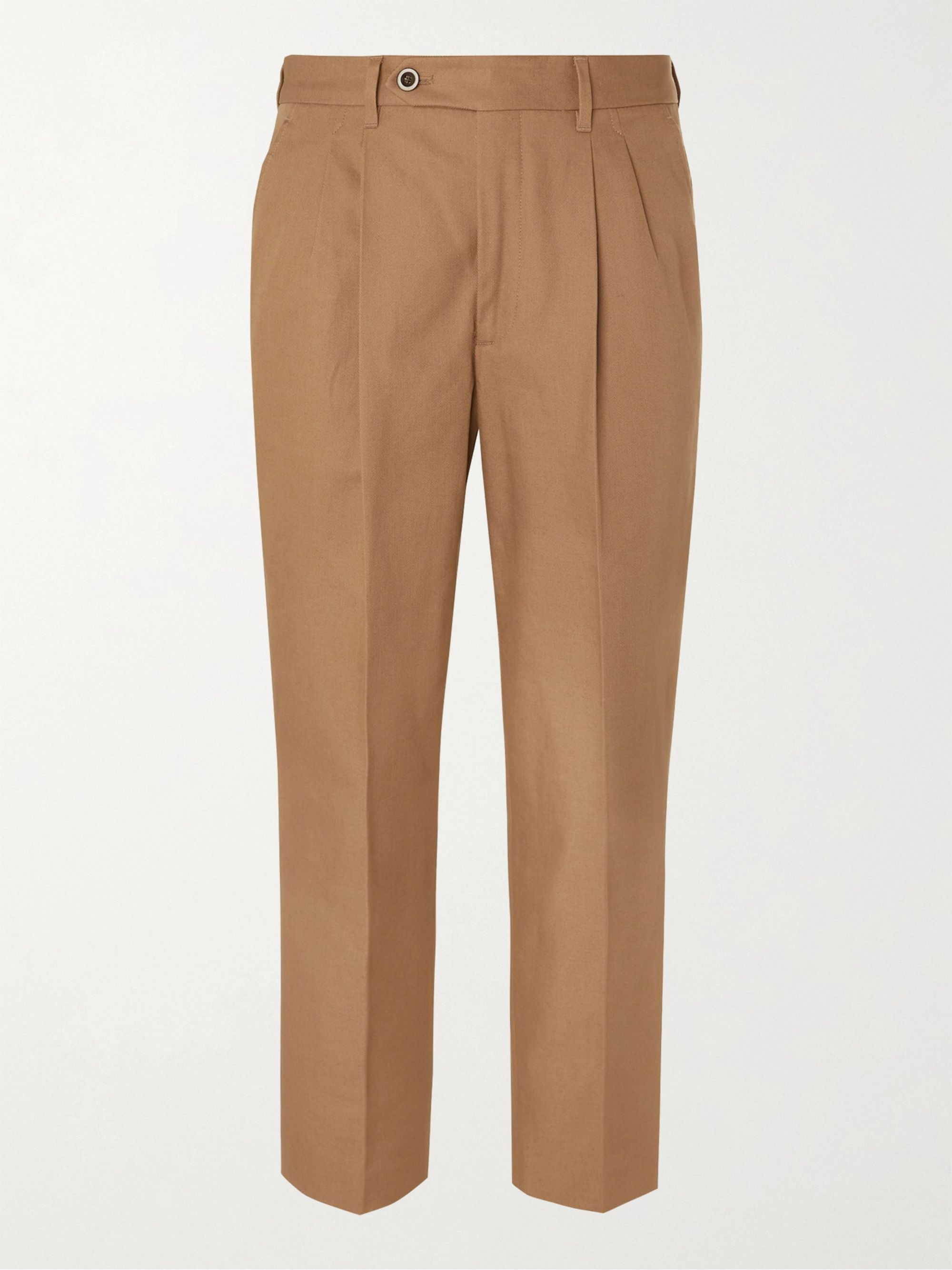 MR P. Tapered Pleated Cotton-Twill Trousers