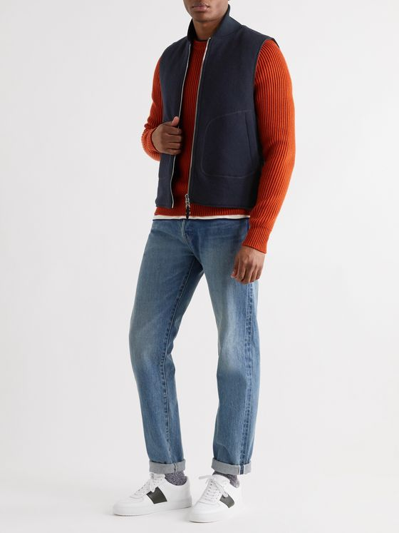 MR P. Reversible Padded Wool-Blend Gilet