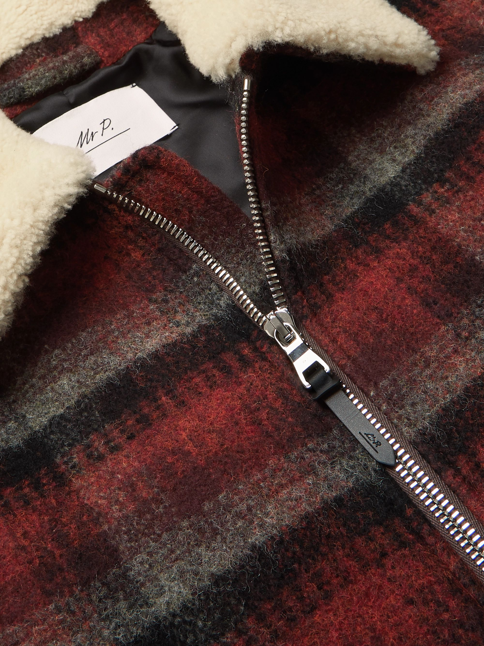 Mr P. Shearling-Trimmed Checked Wool Jacket