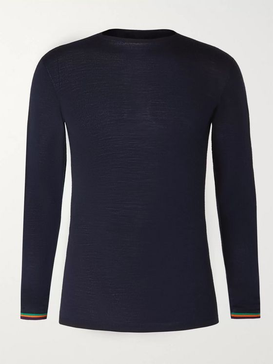 Iffley Road Malvern Slim-Fit Striped Merino Wool Base Layer