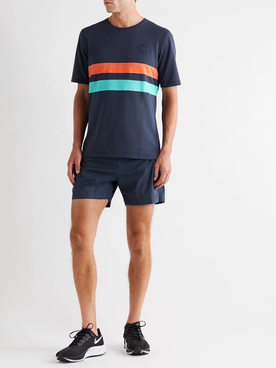 Iffley Road Cambrian Logo-Embroidered Striped Drirelease T-Shirt