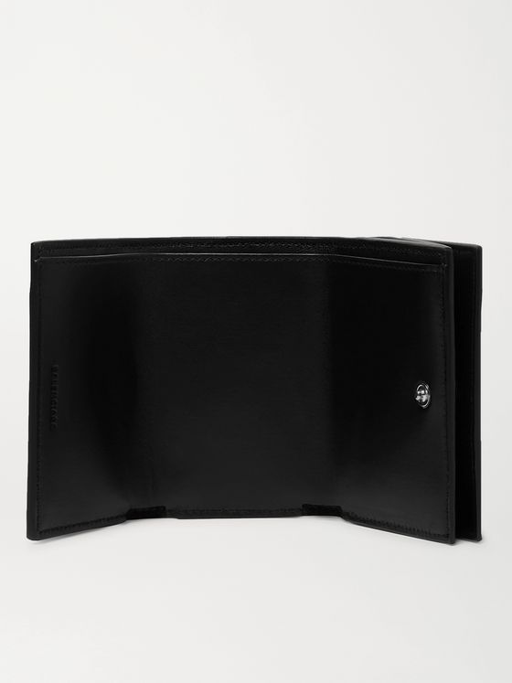 Balenciaga Logo-Print Full-Grain Leather Trifold Wallet