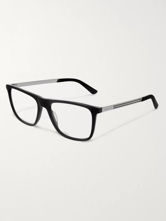 Gucci Square-Frame Acetate and Silver-Tone Optical Glasses