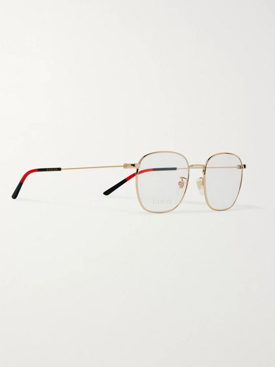 Gucci Square Frame Gold-Tone and Acetate Optical Glasses