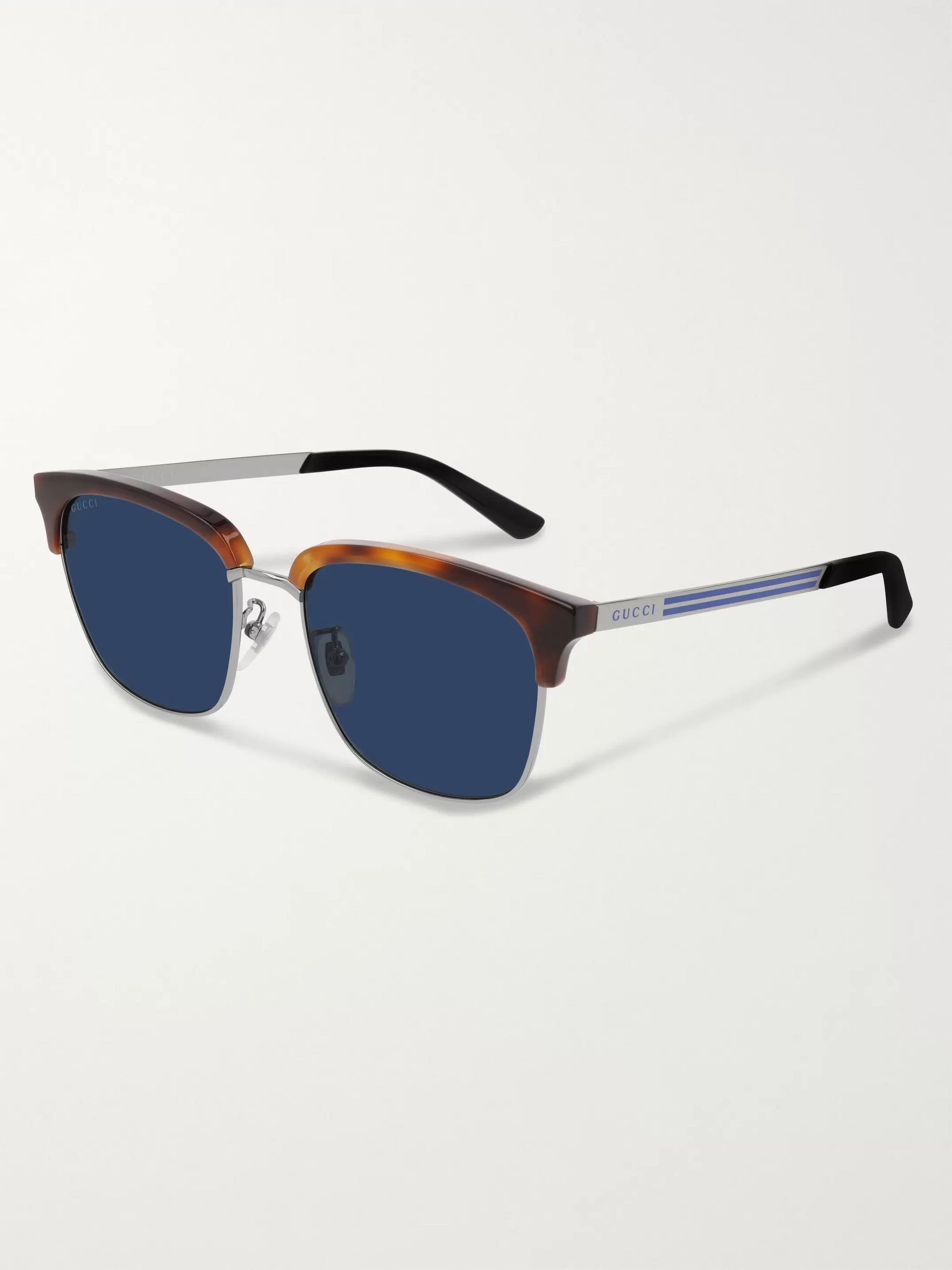 Gucci D-Frame Tortoiseshell Acetate and Silver-Tone Sunglasses