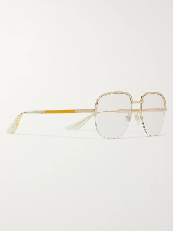 Gucci Square-Frame Gold-Tone and Enamel Optical Glasses