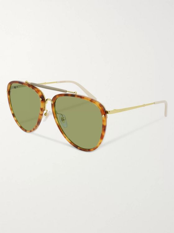 GUCCI Aviator-Style Tortoiseshell Acetate and Gold-Tone Sunglasses