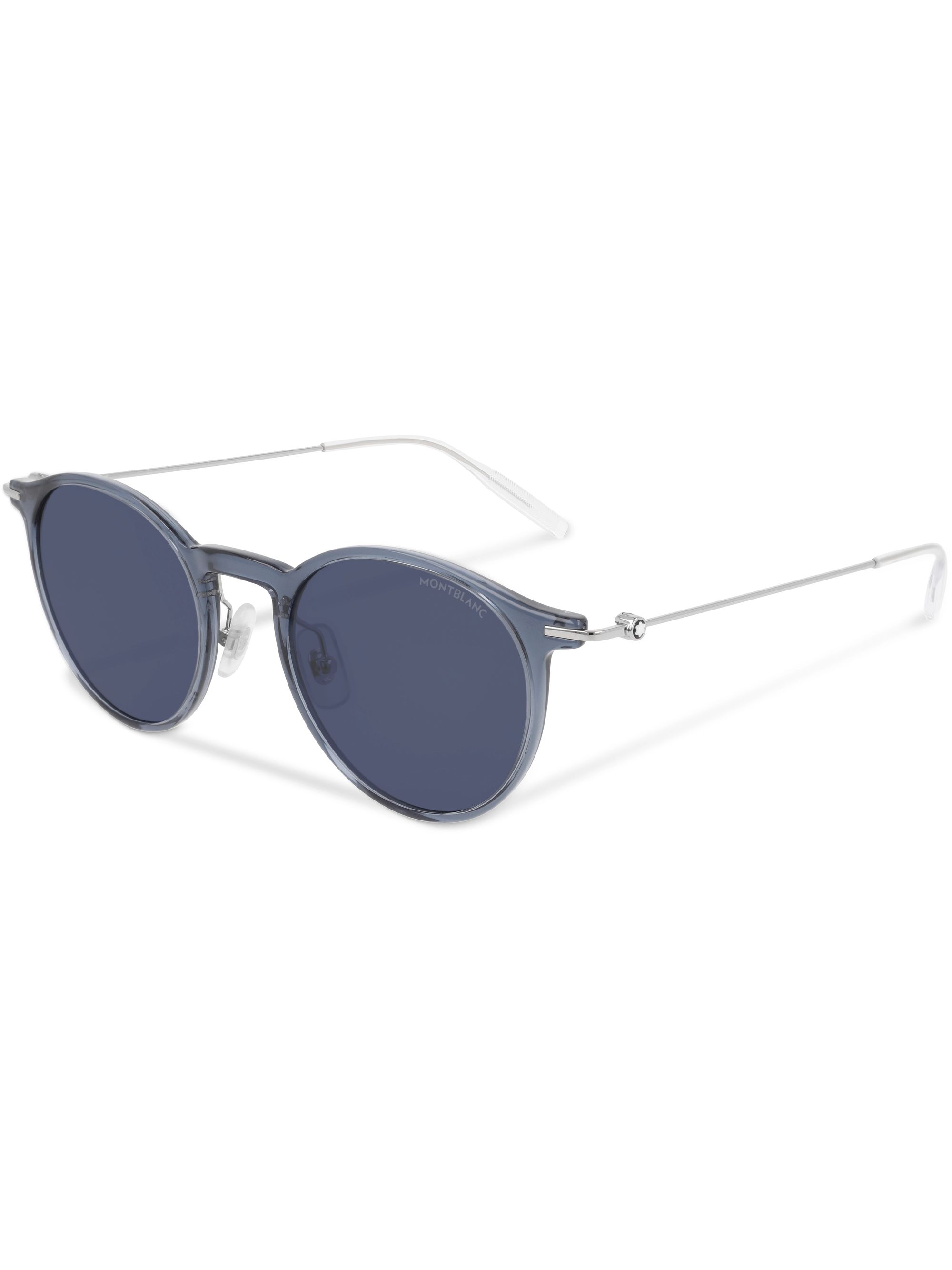 Montblanc Round-Frame Silver-Tone and Acetate Sunglasses