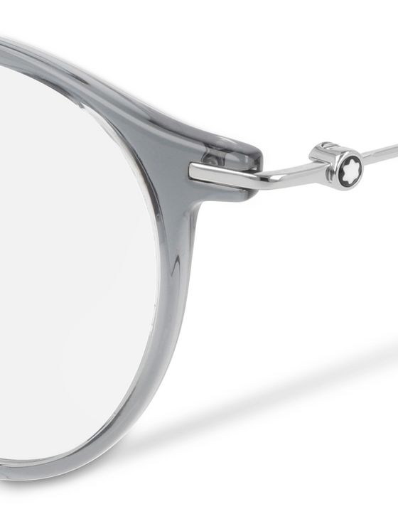 Montblanc Round-Frame Silver-Tone and Acetate Optical Glasses