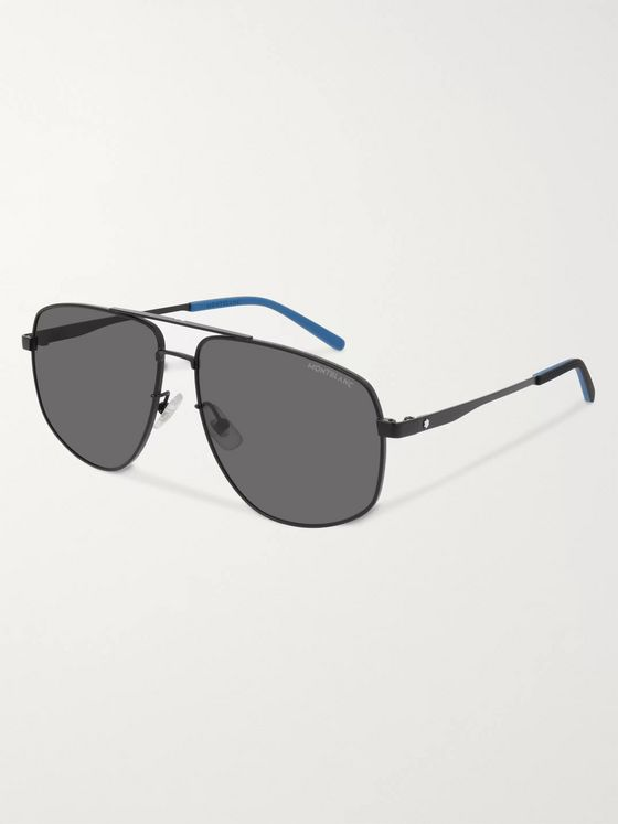 Montblanc Aviator-Style Matte-Metal Sunglasses