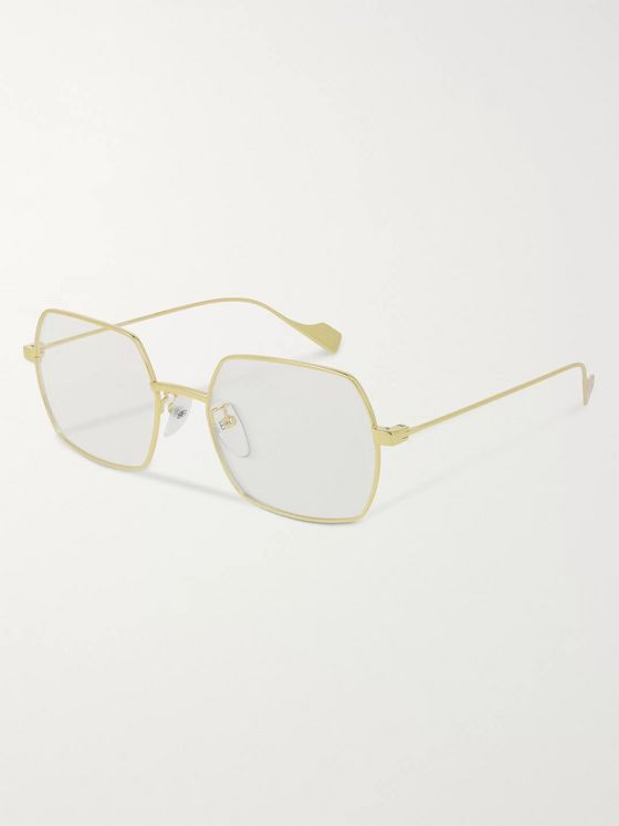 Balenciaga Square-Frame Gold-Tone Optical Glasses