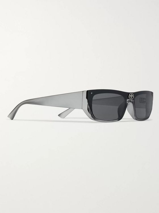 BALENCIAGA Rectangle-Frame Ruthenium and Acetate Sunglasses
