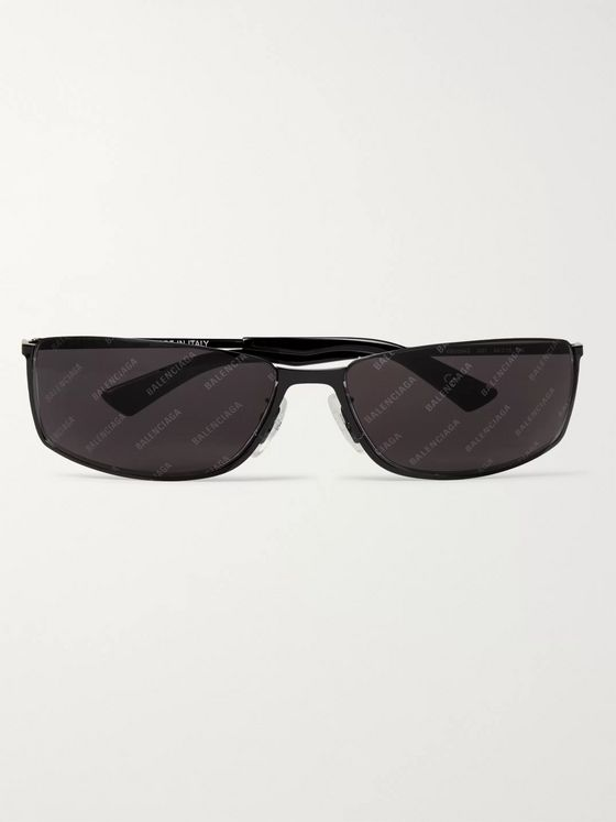 Balenciaga Rectangle-Frame Logo-Print Metal Sunglasses
