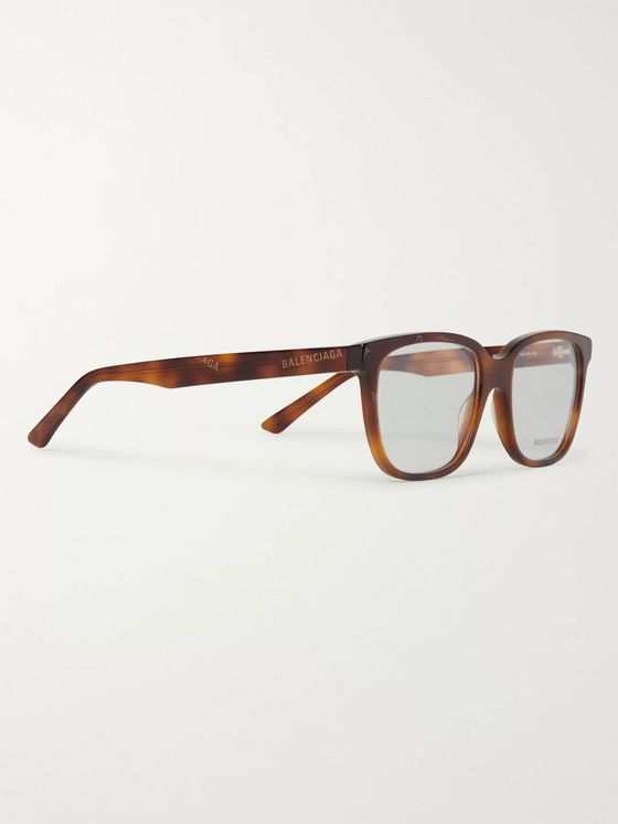 Balenciaga Square-Frame Logo-Print Tortoiseshell Acetate Optical Glasses
